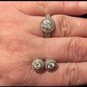 925 sterling silver white topaz ring & earring set